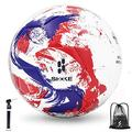 SHOKE Soccer Ball Size 5 Sports Outdoor Official Team Soccer Training Ball to Boy Girls Kids Toys Game Ball a Soccer Ball with Pump and Mesh Bag-Red Blue