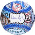 Aaron Judge New York Yankees Autographed Primary Logo and Jersey Back Baseball - Hand Painted by Artist Charles Fazzino - Fanatics Authentic Certified