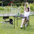 Heavy Duty Frame Collapsible Recliner Big Camping Director Chair With Side Table