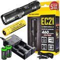 NITECORE EC22 1000 Lumens CREE LED Variable Brightness Rotary Control Flashlight Nitecore USB Rechargeable Battery Bundle Charging Cable