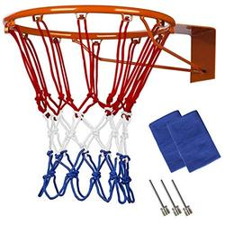 2 Pcs Heavy Duty Professional Basketball Nylon Net Replacement,All Weather Anti Whip,Fits All Standard Indoor or Outdoor Basketball Hoop,12 Loops Rims Tricolor Basketball Net,21 Inch