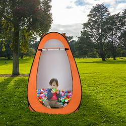 Pcmos 1-2 Person Portable Waterproof Pop Up Toilet Shower Tent Outdoor Camping Changing Room Dressing Tent Shelter 180T Silver Tape Orange