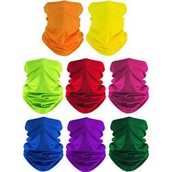 SATINIOR 8 Pieces Summer Face Coverings Face Gaiters Neck Gaiter Headwear for Outdoor Cycling Fishing (Red, Orange, Yellow, Green, Royal Blue, Purple, Dark Green, Rose Red)