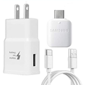 Fast Adaptive 15W Wall Adapter Charger For Huawei P smart Pro 2019 - Includes Type C / USB-C 10ft (3m) Long Cable and OTG Adapter - Rapid Charging - White