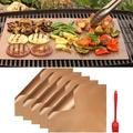 Fencesmart Copper Grill Mat Set of 5-100% Non-Stick BBQ Grill Mats - Works on Electric Grill Gas Charcoal BBQ 15.75 x 13-Inch