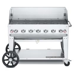 """Crown Verity CV-MCB-48-SI-BULK-WGP 46"""" Mobile Gas Commercial Outdoor Charbroiler w/ Wind Guards, Liquid Propane"""