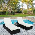 Kepooman Outdoor Garden Chaise Lounge Set, Adjustable Rattan Patio Reclining, Lounge Chairs with Table for Beach Pool, Set of 3