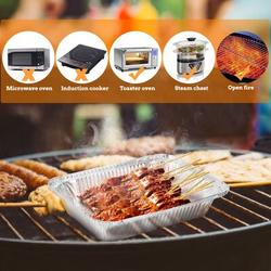 pixnor 20Pcs Disposable BBQ Drip Pan Tray w/ Lid Aluminum Foil Tin Liners For Grease Catch Pans Replacement Liner Trays in Black/White   Wayfair