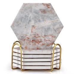 HOU 6 Pcs White Marble Coaster Set w/ Holder Best Absorbent Coasters Drink Stone Coasters Ceramic Wine Coasters Table Cup Coasters Marble   Wayfair