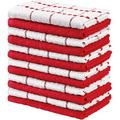 Polar Towels Kitchen Towels, 100% Ring Spun Cotton Super Soft & Absorbent Black Dish Towels, Tea Towels & Bar Towels, (Pack Of 12) Cotton in Red