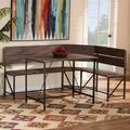 Wade Logan® New Milford Modern Industrial Finished Wood & Black Finished Metal 2-Piece Dining Nook Set Wood/Metal in Brown | Wayfair