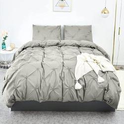 Rosdorf Park Duvet Cover Full, Grey Soft Duvet Cover Set, Farmhouse Textured Comforter Cover Hotel Pintuck Bedding Duvet Cover 3 Pieces Microfiber