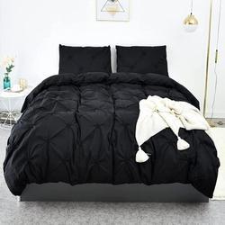 Gracie Oaks Duvet Cover Twin Soft Duvet Cover Set, Farmhouse Textured Comforter Cover Hotel Pintuck Bedding Duvet Cover 2 Pieces Microfiber in Black