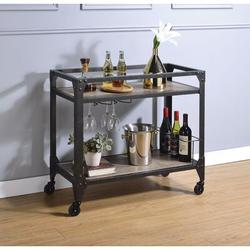 Williston Forge Kitchen Cart On Wheels 2-Tier, Microwave Cart For Kitchen, Bar Cart w/ Cup-Holder, Wine Rack, Industrial Bar Serving Cart | Wayfair