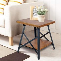 Gracie Oaks Modern Farmhouse Metal X Side Table, Solid Wood Table w/ Storage Coffee Table At Metal Bottom, Easy To Assemble, Natural Wood Wood