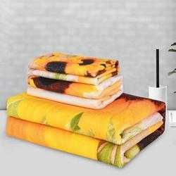 Gracie Oaks 3Pcs Sunflower Bath Towels Set Include Bath Towel, Hand Towel & Wash Towel, Decorative Sunflower Beach Towel Set For Bathroom in Yellow