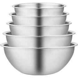 Red Barrel Studio® Stainless Steel Mixing Bowls Set Of 5 -Salad Bowl w/ Scale -Space Saving -Easy To Clean Nesting Bowls in Gray | Wayfair
