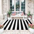Latitude Run® Striped RugCotton Woven Washable Rug Retro Lattice Stripe Outdoor Rug Carpet For Farmhouse Living Room/Dining Room/Bedroom | Wayfair