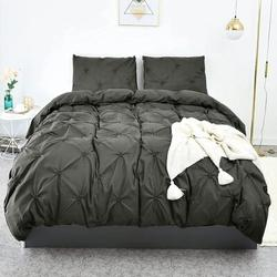 Gracie Oaks Duvet Cover Twin, Black Soft Duvet Cover Set, Farmhouse Textured Comforter Cover Hotel Pintuck Bedding Duvet Cover 2 Pieces Microfiber