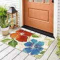 Red Barrel Studio® Modern Floral Area Rug - Non Slip Large Flower Carpet For Indoor Rugs - Living Room, Bedroom, Kitchen & Hallway Mats in White