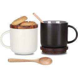 wisdomfurnitureco Ceramic Coffee Mug Set Of 2,Coffee Mugs Ceramic Coffee Cup w/ Wood Lid,Tea & Milk Ceramic Cup,Black & White Ceramic Mugs, 14.3Floz