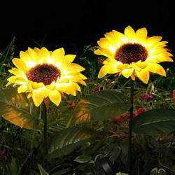 Cocobaby 2 Pack Solar Garden Lights LED Outdoor Waterproof Decorative Sunflower Ornaments Stake Lights for Pathway Landscape Lamp Patio Fence Yard Lighting Outdoor Decor