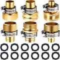 3 Sets Brass Garden Hose Connector Garden Hose Adapter Hose Fitting Water Mender End Female and Male Hose Connector for1/2 Inch 5/8 Inch 3/4 Inch Hose with 6 Pieces Clamp and 12 Rubber Gaskets