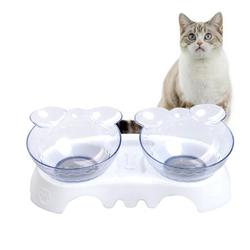 ankishi Pet Elevated Bowls Nontoxic Odorless Cat Elevated Double Plastic Bowl Nonslip Pet Feeding Bowl Raised Food Holders for Cats Dogs