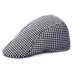 JuLam Simple Houndstooth Pattern Outdoor Warm Keeping Golf Beret Flat Cap Casual Peaked Cap Golf Hat For Men & Women