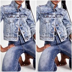 Free People Jackets & Coats | Free People Rumors Denim Jean Jacket Acid Wash | Color: Blue/White | Size: Various