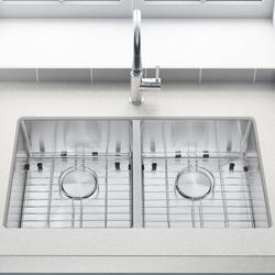 GORGR Premium 304 Grade Stainless Steel Kitchen Sink Single Bowl Undermount 18 Stainless Steel Thickness - Bottom Grid - Adjustable Colander in Gray