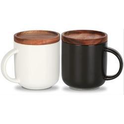 romeidata Ceramic Coffee Mug Set Of 2,Coffee Mugs Ceramic Coffee Cup w/ Wood Lid,Tea & Milk Ceramic Cup,Black & White Ceramic Mugs, 14.3Floz Wayfair
