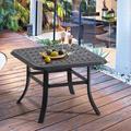 Alcott Hill® Cast Aluminum Patio Side Table Outdoor Square Anti-rust Small Table w/ Umbrella Hole, Coffee Bistro Table,market Umbrella Table in Brown