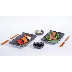 Orren Ellis 6 Piece Sushi Dinner Set Rectangular Sushi Plate Sauce Dish & Chopsticks Sushi Dinner Set For Two (Black Green) Porcelain/Ceramic