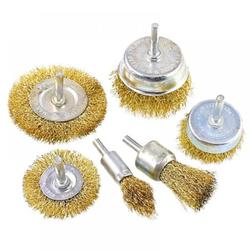 6 Pieces Wire Brush Wheel Cup Brush Set 6 Piece, Wire Brush for Drill 1/4 Inch Arbor Coarse Carbon Steel Crimped Wire Wheel for Cleaning Rust, Stripping and Abrasive, for Drill Attachment