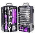 Rinhoo 135pcs/set Screwdriver Bit Set 135-in-1 Wrench Socket Kit Portable Phone Watch Repair Tools, Black Purple