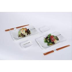 GoodDogHousehold 6 Piece Sushi Dinner Set Rectangular Sushi Plate Sauce Dish & Chopsticks Sushi Dinner Set For Two ( Snow) in White   Wayfair