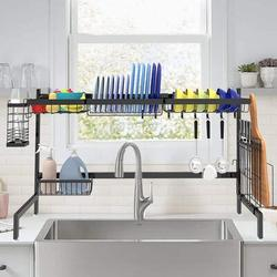 futurecitytrading Over Sink Dish Drying Rack Black- Large Dish Rack Drainer For Kitchen Storage Stainless Steel, Size 21.6 H x 33.4 W x 10.8 D in
