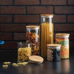 Prep & Savour Airtight Food Storage Containers, Glass Jars w/ Lids, Glass Jar For Serving Candy, Cookie, Rice, Food - Set Of 4 in Brown   Wayfair