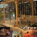 The Holiday Aisle® Romantic Christmas Wedding Outdoor Decoration Curtain String Light in White, Size 1.0 H x 118.0 W x 118.0 D in | Wayfair