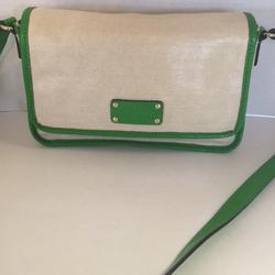 Kate Spade Bags   Kate Spade Coated Canvas Patent Messenger Bag   Color: Cream/Green   Size: 6 X 10 X 3 With 23 Inch Strap Drop
