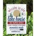 Personalized Planet Garden Flags - White 'Welcome To Our Lake House' Personalized Garden Flag