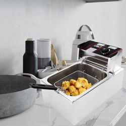 QH 2500W 6L Electric Fryer Stainless Steel Electric Fryer Commercial Household in Gray, Size 11.4 H x 16.9 W x 11.0 D in | Wayfair qhuang2106110008