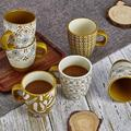 qizhongtrade Coffee Mugs Set Of 6,Mug Gift Set For Mom Dad,14 Ounce Ceramic Mug Set,Novelty Coffee Mug For Tea,Cappuccino,Latte,Coffee in Yellow