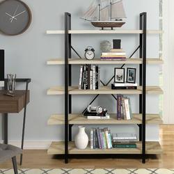 Latitude Run® Bookshelf, 5-Tier Tall Free Standing Bookcase, Contemporary Style Book Shelves For Living Room Bedroom Home Office, Oak in Black/Brown