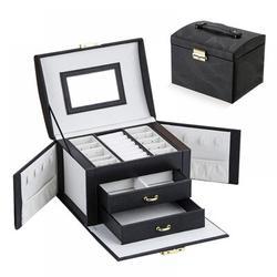 Mercer41 Drawer Type Jewelry Storage Box Multi-Layer Jewelry Box w/ Lock Jewelry Box in Black, Size 3.15 H x 5.12 W x 4.72 D in | Wayfair