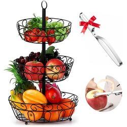 Red Barrel Studio® Fruit Bowl,3-Tier Fruit Basket Large Fruit Stand Holder For Kitchen, Kitchen Counter & Dining Table Organizer Iron in Black/Gray