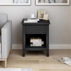 Red Barrel Studio® 1 Drawer Nightstand Solid Wood w/ Storage Shelf, Traditional Design Nightstand in Gray, Size 24.0 H x 20.9 W x 18.1 D in | Wayfair