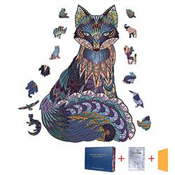 Wooden Jigsaw Puzzles for Adults and Kids, Wooden Puzzle 100 pcs Wooden Animal Shaped Puzzles Unique Shaped Jigsaw Puzzles, Best Gift for Family Game Play Collection, Fox