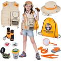 Kids Explorer Kit Premium Kids Camping Toys and Outdoor Adventure Kits for Boys and Girls, 3-12 Years Old Backyard Safari Vest & Hat, Kids Binoculars, Flashlight, Bug Kits for Kids, Compass, Ebook